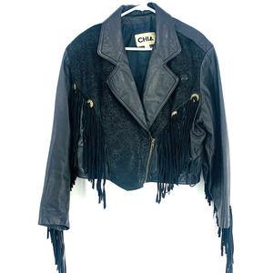 CHIA Vintage Women's size L Black Leather Fringe Cowgirl Moto Western Jacket